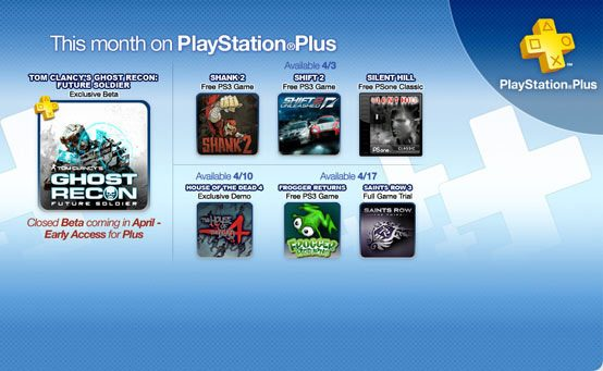 PlayStation Plus April Preview: Free Shank 2 and Shift 2 Unleashed, Ghost Recon Future Soldier Beta