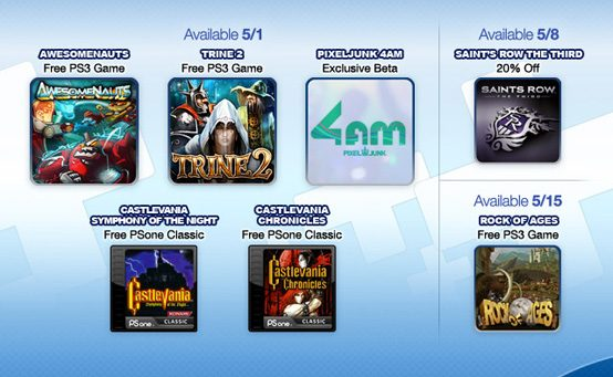 PlayStation Plus May Preview: Free Awesomenauts, Trine 2, Rock of Ages, PixelJunk 4am Beta