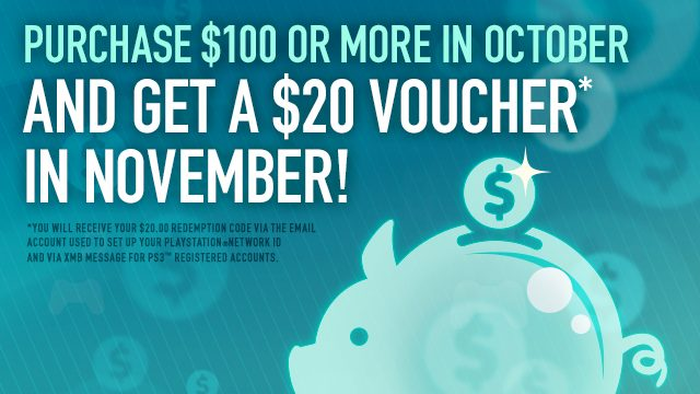 Big Savings: Buy $100 on PSN in October, Get $20 PSN Credit