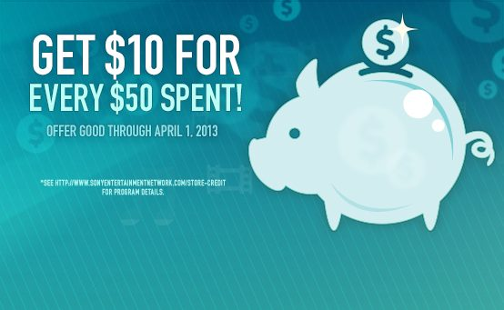 PSN March Savings: Get $10 For Every $50 Spent