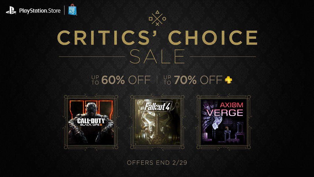 Critics' Choice Sale, $15 Credit Promotion Start Today