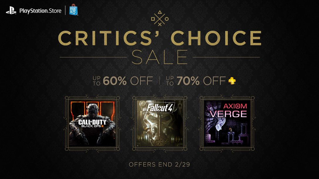 Critics' Choice Sale, $15 Credit Promotion Start Today