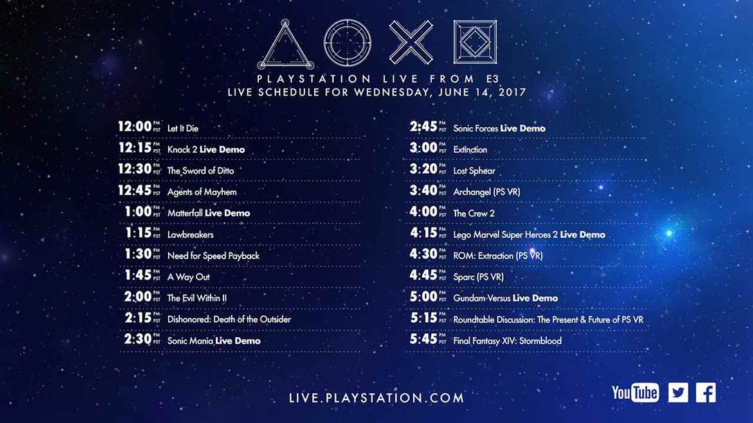 Programming Schedule: PlayStation Live From E3 2017