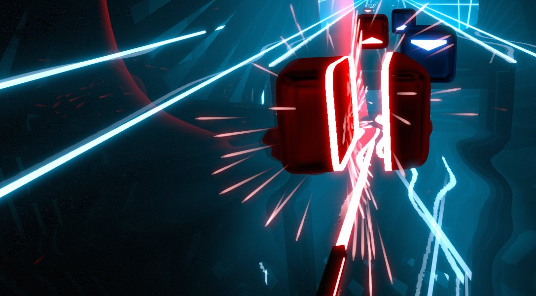 Use PS Move to chop blocks in rhythm action game Beat Saber, coming soon to PS VR