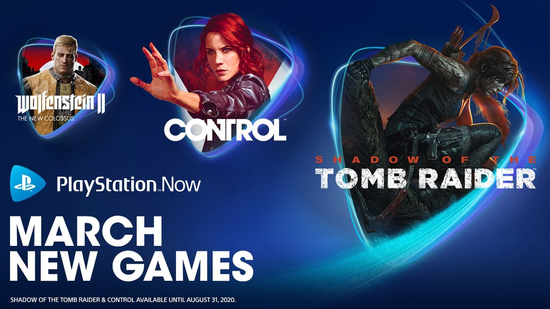 Shadow of the Tomb Raider, Control, Wolfenstein II, More Join PS Now in March