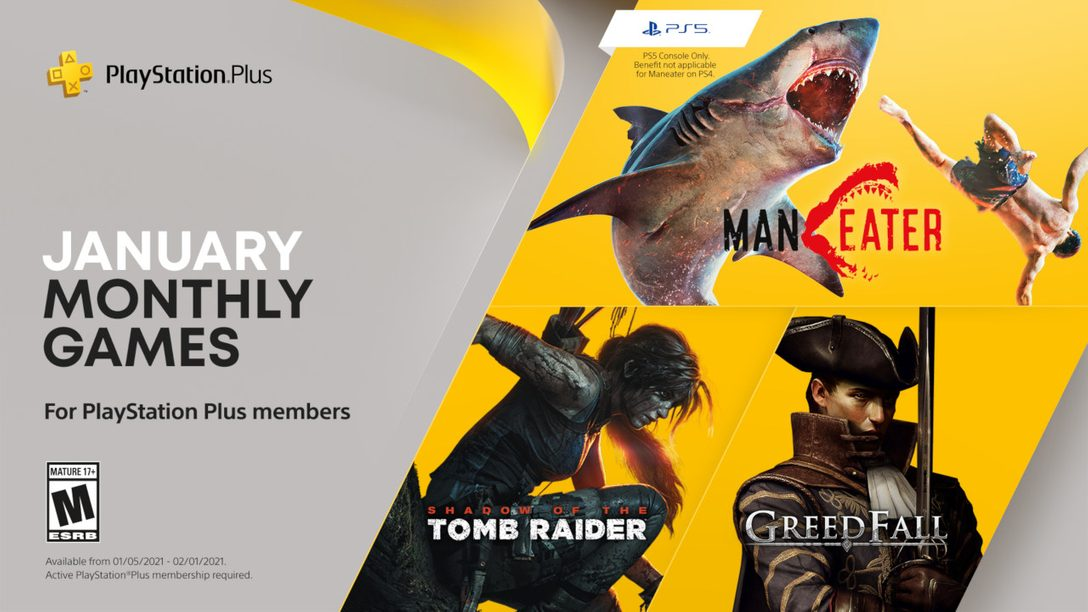 January's PlayStation Plus games: Maneater, Shadow of the Tomb Raider, and Greedfall