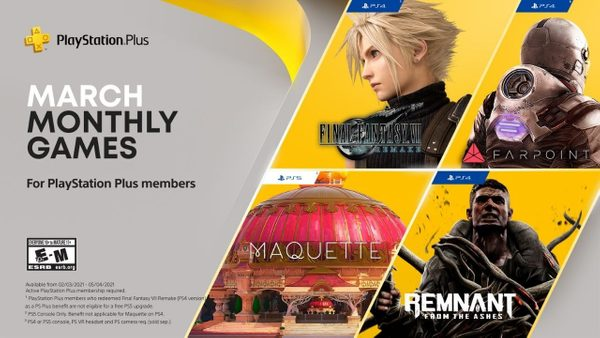 PlayStation Plus games for March: Final Fantasy VII Remake, Maquette, Remnant: From the Ashes and Farpoint