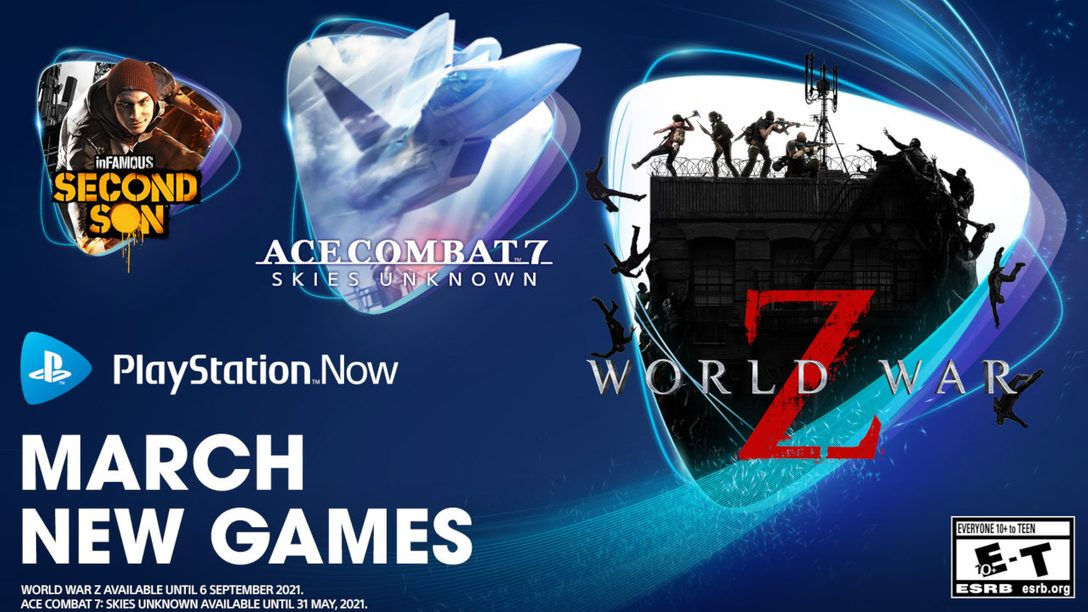 PlayStation Now games for March: World War Z, Ace Combat 7: Skies Unknown, InFamous: Second Son and Superhot