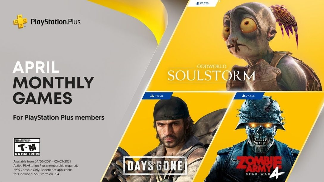 PlayStation Plus games for April: Days Gone, Oddworld: Soulstorm, and Zombie Army 4: Dead War