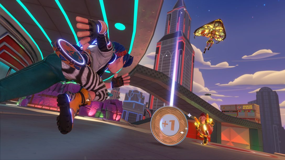 All aboard the Knockout City Hover-Train in Jukebox Junction