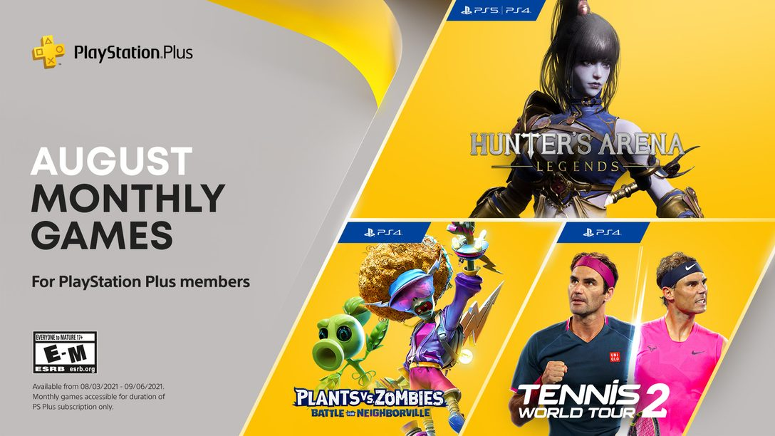PlayStation Plus games for August: Hunter's Arena: Legends, Plants vs. Zombies: Battle for Neighborville, Tennis World Tour 2