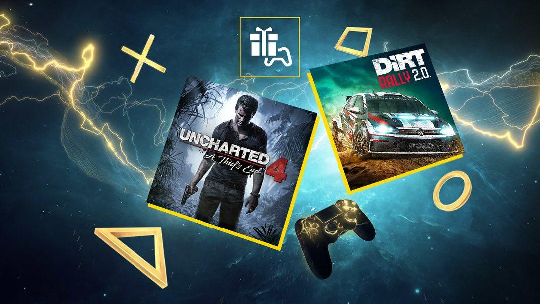 Uncharted 4: Fine di un ladro e DIRT Rally 2.0 sono i tuoi giochi PlayStation Plus di aprile