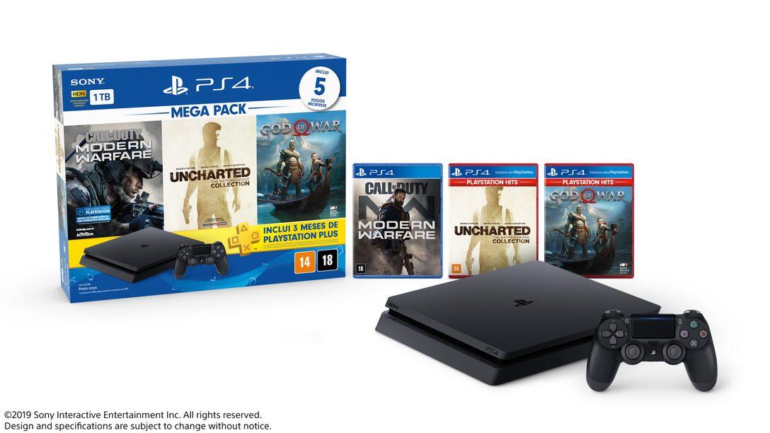 Apresentando Um Novo Mega Pack PlayStation 4 com Call of Duty: Modern Warfare, God of War e Uncharted Collection