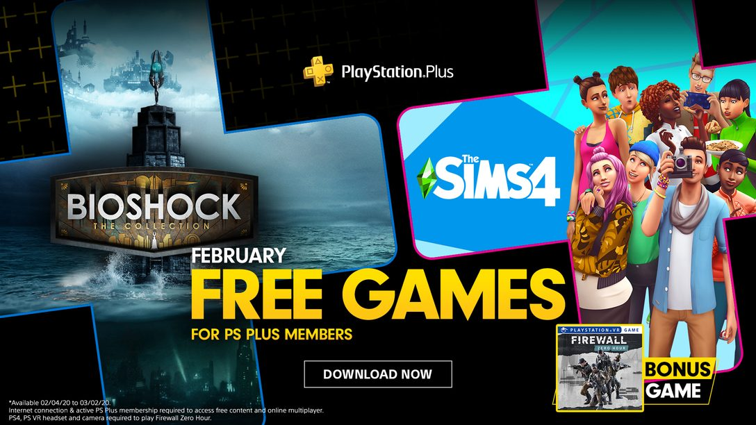 Os Jogos Gratuitos PS Plus de Fevereiro: Bioshock: The Collection, The Sims 4, e Firewall Zero Hour