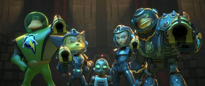 Qwark, Ratchet, Clank, Cora and Brax pointing their gun's-Highres copy (3)